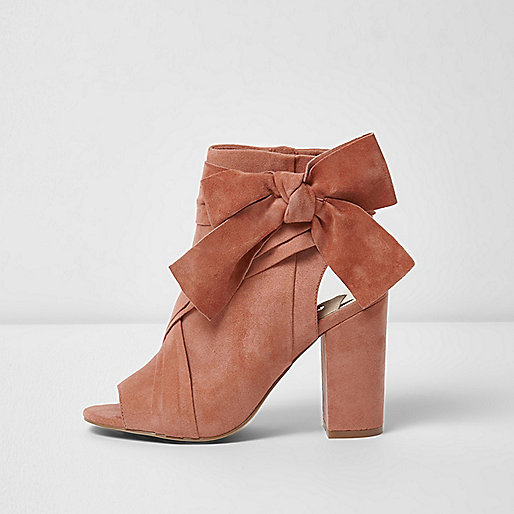 Pink tie side shoe boots