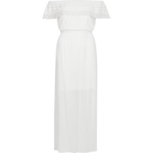 White bardot frill maxi dress