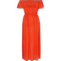Robe Bardot longue orange à volant