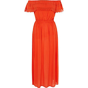 Oranje maxi-jurk in bardotstijl met ruches