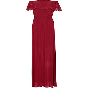 Dark red bardot lace frill maxi dress