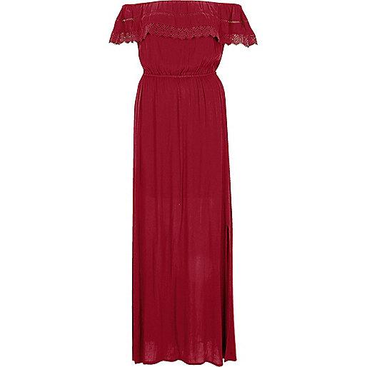 Dark red bardot lace frill maxi dress