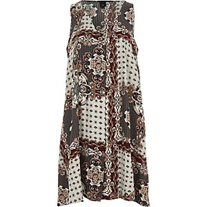Cream scarf print sleeveless swing dress
