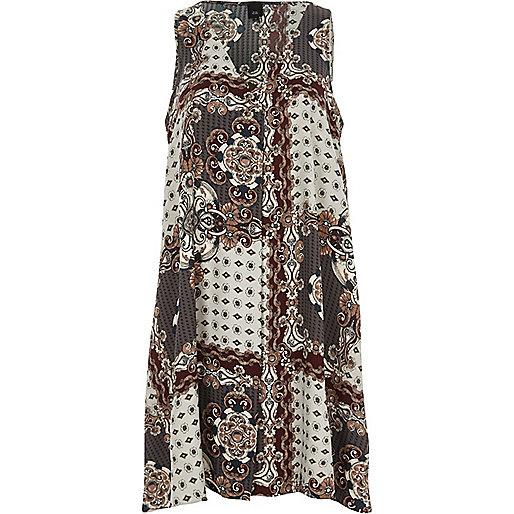 Cream scarf print sleeveless swing dress