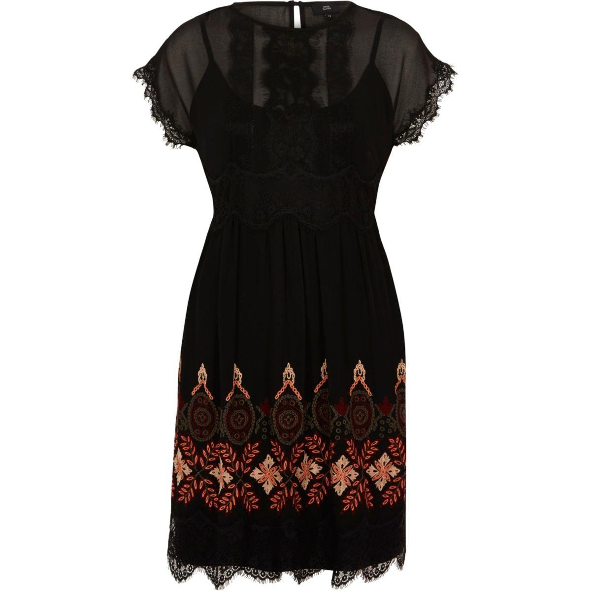 Black embroidered eyelash lace swing dress