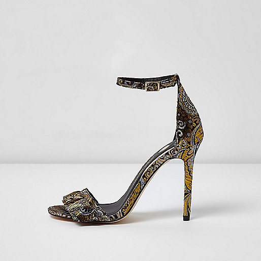 Black jacquard floral barely there sandals