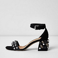 Black rhinestone embellished block heel sandals