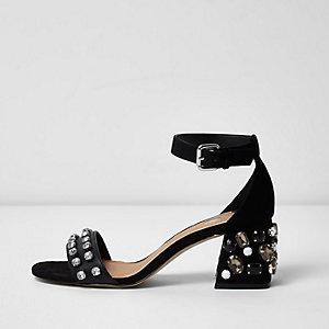 Zwarte sandalen met blokhak en siersteentjes