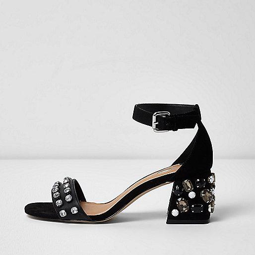 Black rhinestone embellished block heel sandals