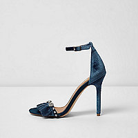 Blue velvet embellished barely there sandals