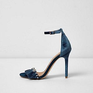 Blue velvet embellished barely there sandals