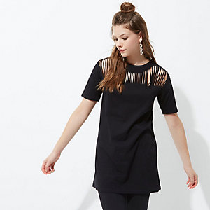 Black slashed front oversized T-shirt