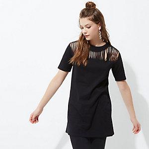 Black slashed front oversized T-shirt