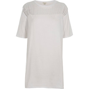 White slashed oversized T-shirt