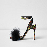 Black floral fluffy barely there sandals