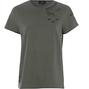 T-shirt noir déchiré à manches courtes