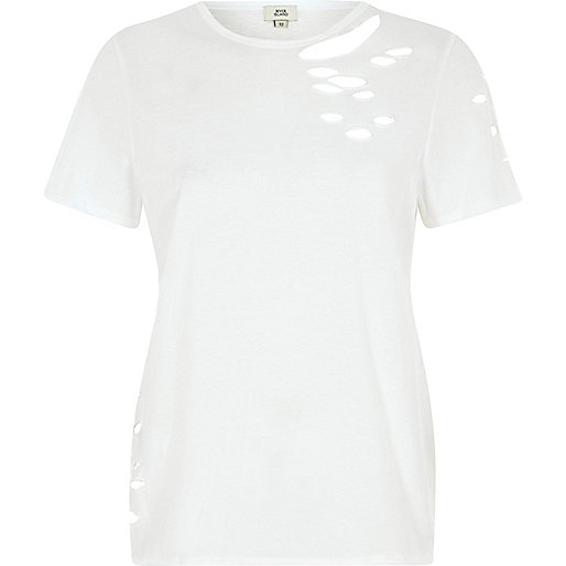 White slashed short sleeve T-shirt