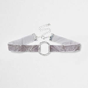 Grey crushed velvet diamante circle choker