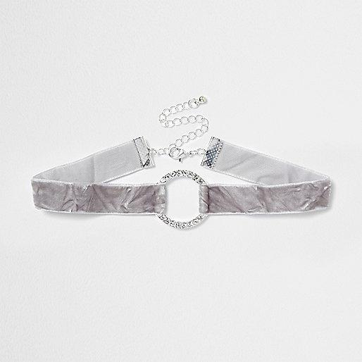 Grey crushed velvet diamante circle choker