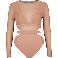 Beige mesh long sleeve cut out bodysuit