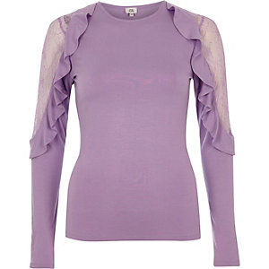 Light purple frill lace sleeve top
