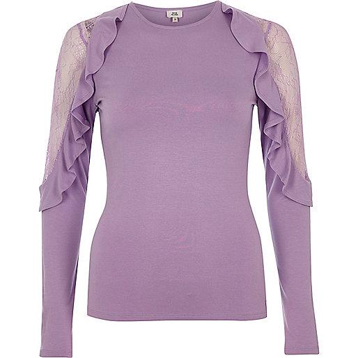 Light purple frill lace sleeve top