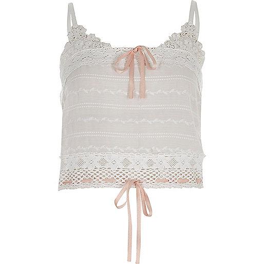 White crochet ribbon cami crop top