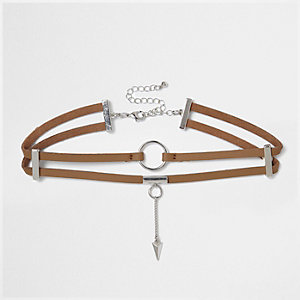 Brown two row circle choker
