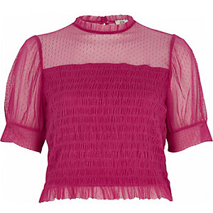 Pink dobby mesh shirred puff sleeve top