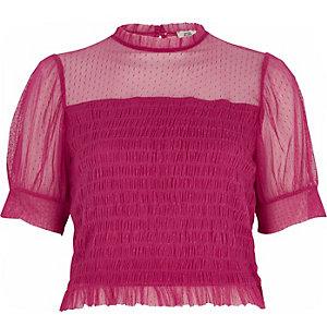 Roze mesh gesmokte top met pofmouwen