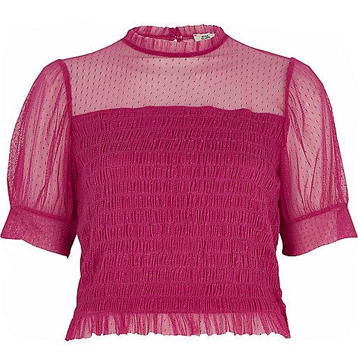 Pink dobby mesh shirred puff sleeve top