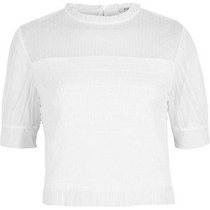 Witte mesh gesmokte top met pofmouwen