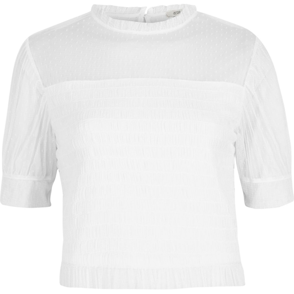 White dobby mesh shirred puff sleeve top
