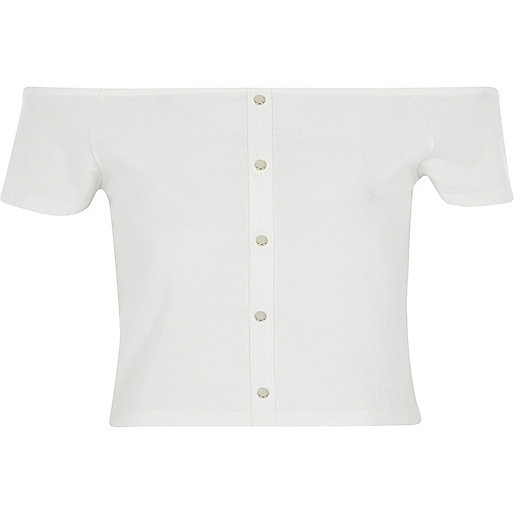 Cream short sleeve popper bardot crop top