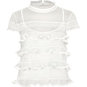 White dobby mesh cap sleeve frill top