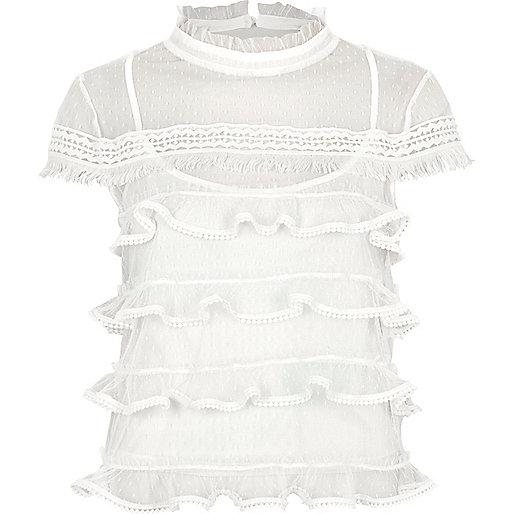 White dobby mesh cap sleeve frill top