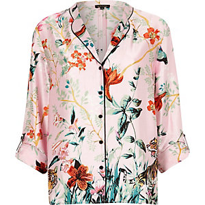 Pink satin jungle print pajama shirt
