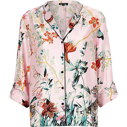Pink satin jungle print pajama shirt