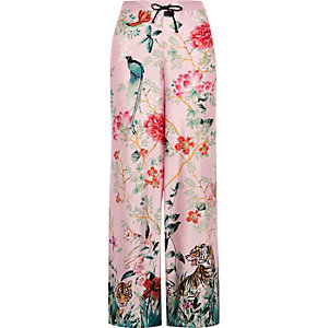 Pink jungle print satin trousers