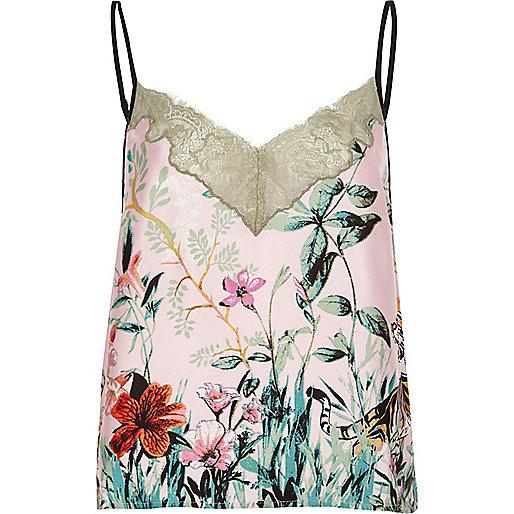Pink jungle print lace cami pajama top