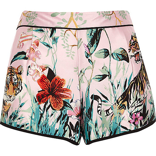 Pink satin jungle pyjama shorts