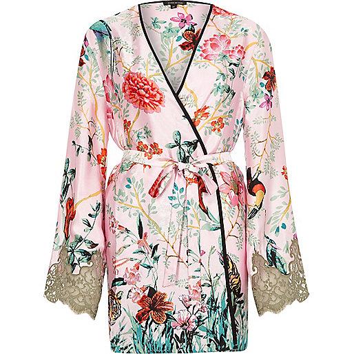 Pink jungle print lace sleeve robe