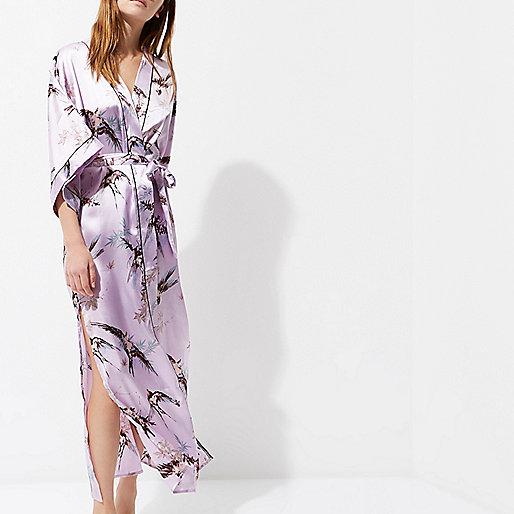 Purple bird print kimono sleeve robe