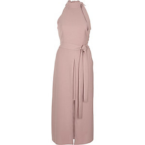 Pink tie neck sleeveless midi dress