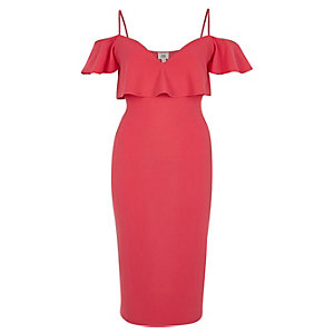 Pink frill cold shoulder bodycon dress