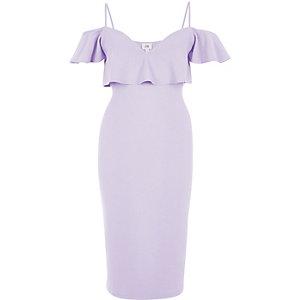 Bodycon-Kleid in Helllila mit Schulterausschnitten