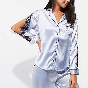 Lichtblauw satijnen pyjamashirt