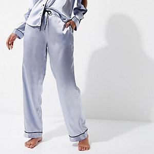 Blauwe satijnen pyjamabroek met kant