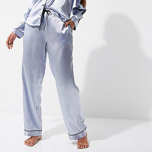Blue satin lace pajama bottoms