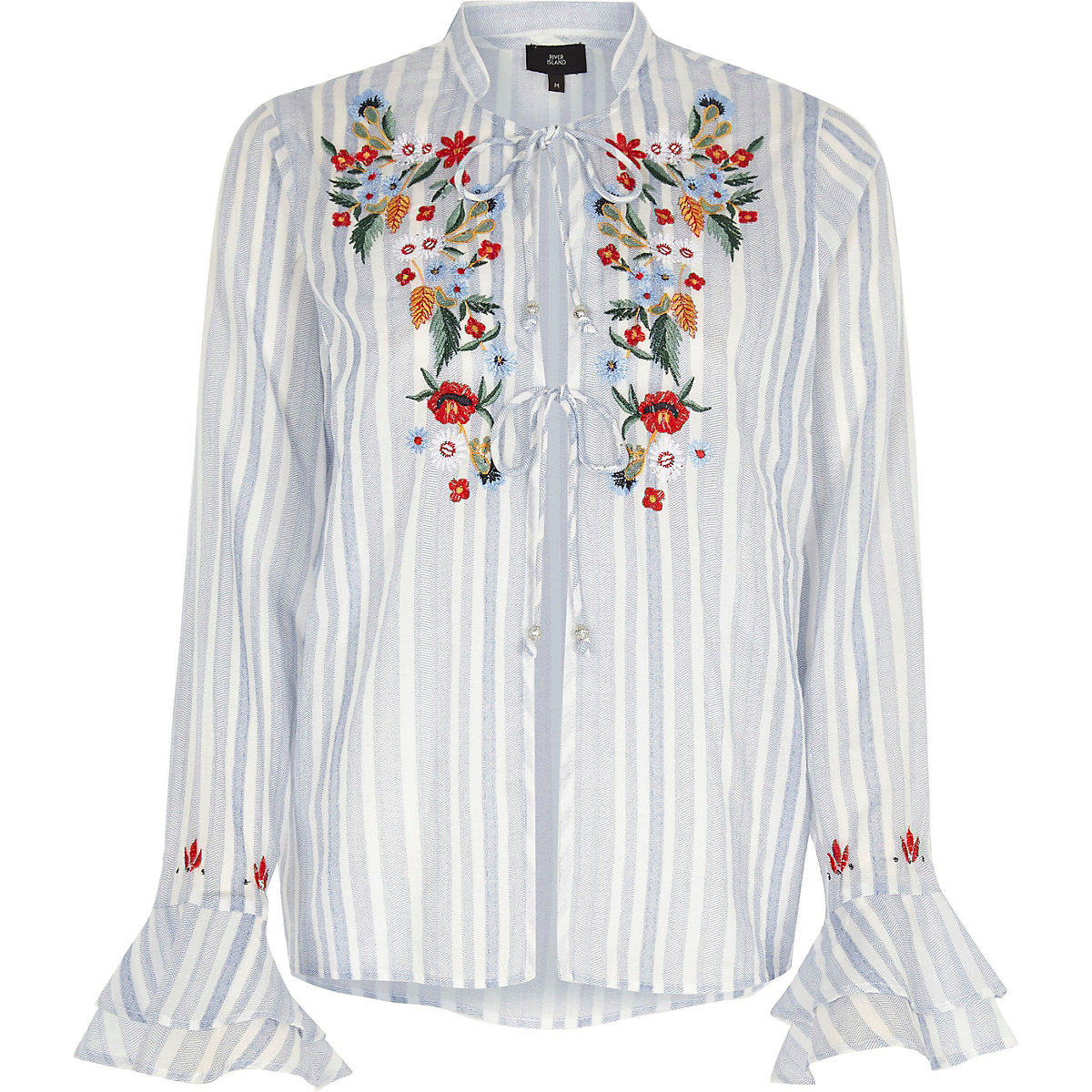 Blue stripe embroidered frill pyjama top